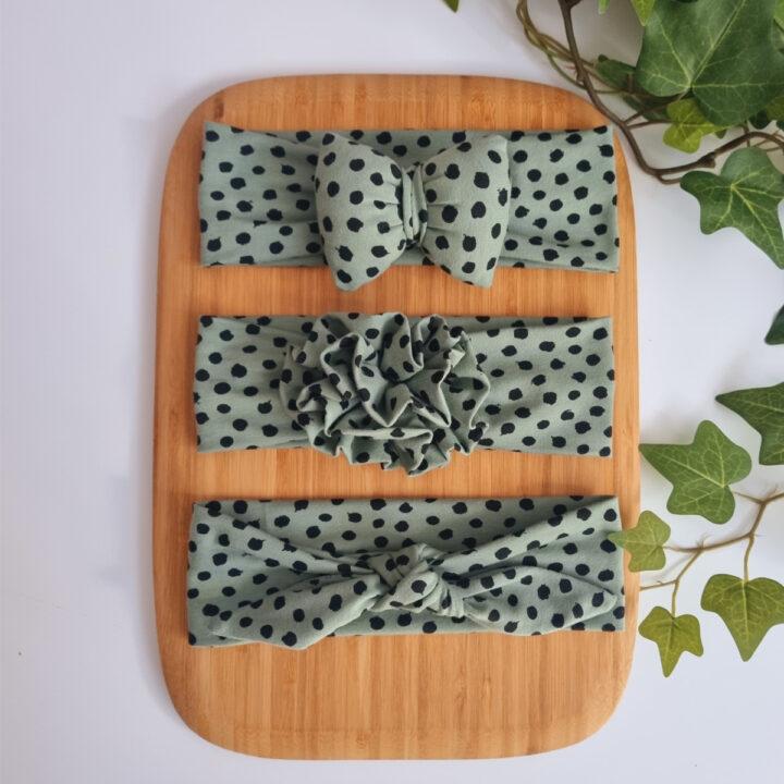 Κορδέλα Μαλλιών Πράσινο με Μαύρο Πουά