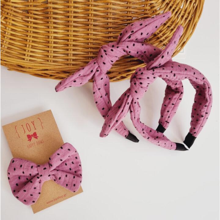 Παιδική στέκα ροζ με μαύρο πουά