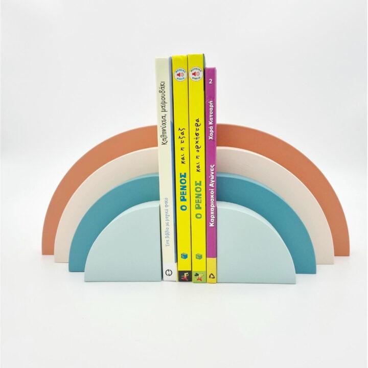 Ξύλινοι Βιβλιοστάτες Rainbow Μπλε - Κεραμιδί